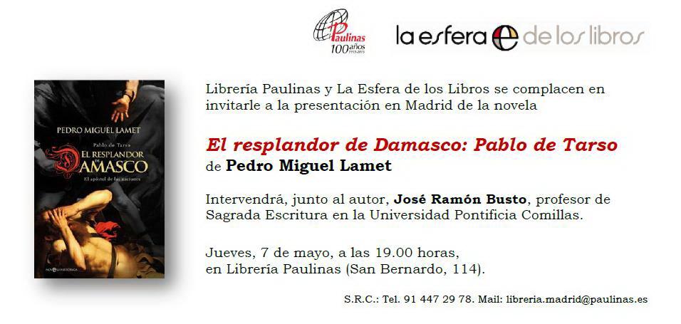 Invitación El resplandor de damasco Madrid (1)